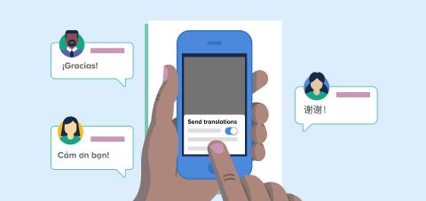 Preferred language translation on blue phone and foreign language texts surrounding